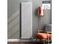 WHITE VERTICAL DOUBLE OVAL TUBED RADIATOR 1600 X 480 MM (1433)