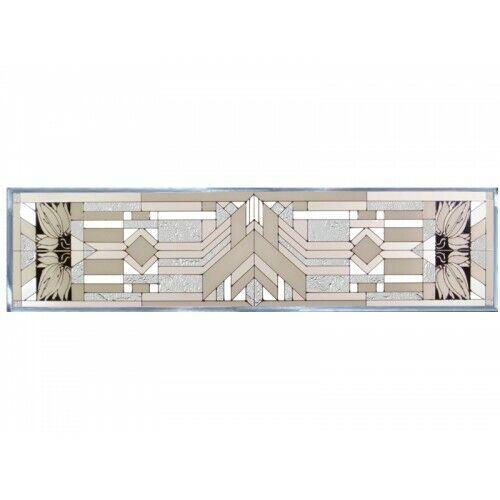 "Mission Style White Art Glass Window Panel Suncatcher 42"" x 10.25 "" Horizontal"