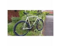 54CM silver & 50mm Deep Section Wheels Single Speed Fixed Gear Bicycle Fixie
