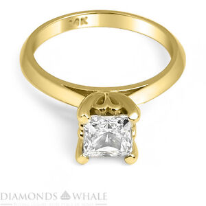 0.58 CT PRINCESS BRILLIANT CUT REAL DIAMOND ENGAGEMENT RING