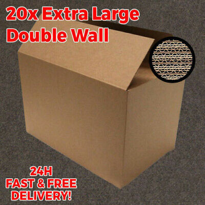 NEW 20 X LARGE DOUBLE WALL Cardboard Moving Boxes - Removal Packing Storage Box
