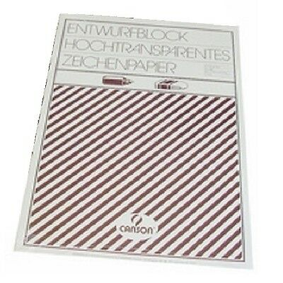 Canson Zeichenpapier Block A3, transparent, 50 Blatt Kopierpapier Pauspapier