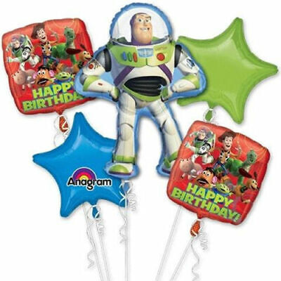Toy Story Buzz Lightyear 5pc Bouquet Birthday Party Foil Balloons Decorations](Balloon Buzz Lightyear)