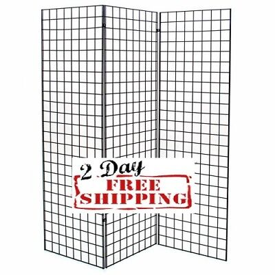 Display Grid Rack Three 2 X 6 Ft Panel Z Unit Metal Stand Retail Store Craft Art