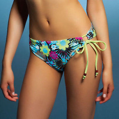 Freya Moonflower Classic Side Tie Bikini Brief 9918 Blue Floral Oasis Swim NEW ()