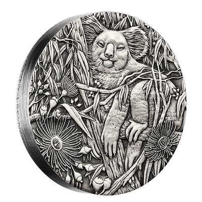 Australian Koala 2017 2oz Silver High Relief Antiqued $2 Coin Australia