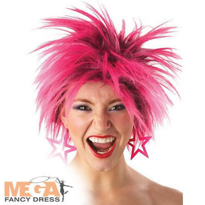 80s Pink Punk Wild Wig Ladies 1980s Fancy Dress Costume eighties Accessory Wig (Eighties Costumes)