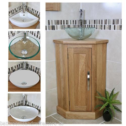 Pine Bathroom Vanity Unit: Oak Corner Unit: Furniture