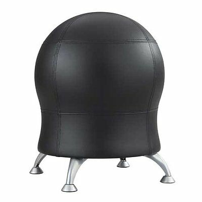 Safco Zenergy Ball Chair - Vinyl Black Seat - Back - Steel Powder Coated Frame -