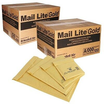 5 BAGS - A/000 - 110 x 160MM - GOLD MAIL LITE BUBBLE PADDED POSTAL ENVELOPES