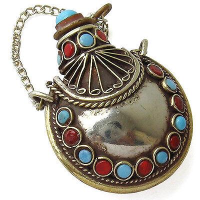 Delicate Tibetan 34 Turquoise Coral Gemstone Spoon Snuff Bottle Amulet Pendant