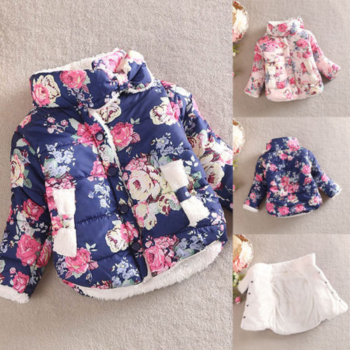 Toddler Kids Baby Floral Padded Hooded Coat Winter Warm