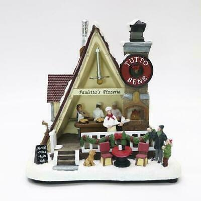 "9"" LED Pizzeria Fun Christmas Musical Lighted Village Building Holliday Decor"