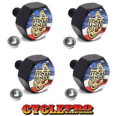 4 Black Billet Hex License Plate Frame Tag Bolts USN NAVY ANCHOR USA - 069