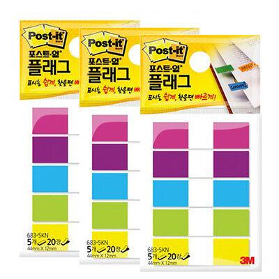 3m Post-it Flag 683-5kn 12mm44mm 3packs 300sheets Bookmark Point Sticky Note