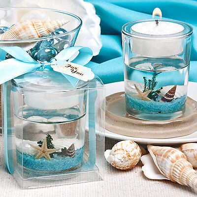 - 24 Personalized Underwater Sea Scene Gel Candles Beach Theme Wedding Favors