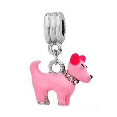 Beautiful 3D Pink Enamel Dog W/Pink Rhinestone Collar Dangle -