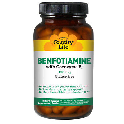 Vitamin B1 with Benfotiamine 60 Vcaps by Country Life