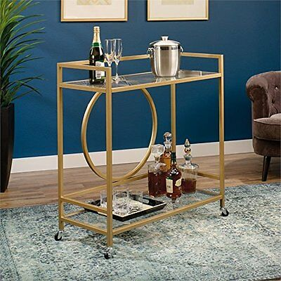 Sauder 417828 Int Lux Bar Cart Clear Satin Gold/Glass Sgs Non-Wood Finish New