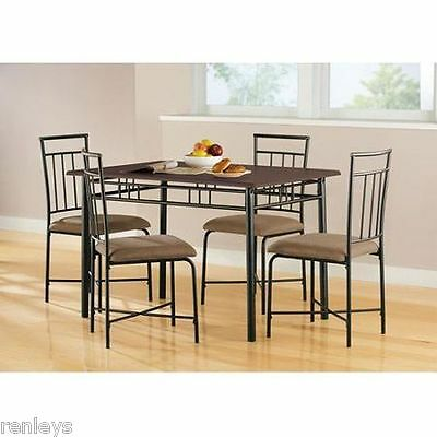 5 Ruined  Dining Set Wood Metal 4 Chairs & Table Kitchen Breakfast Furniture NEW