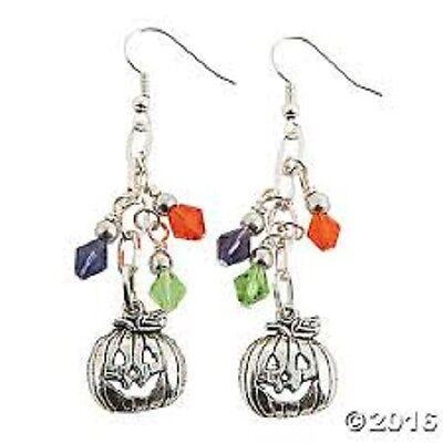 Halloween Dangle Earring Kit Jewelry Making Halloween Pumpkin Purple Green