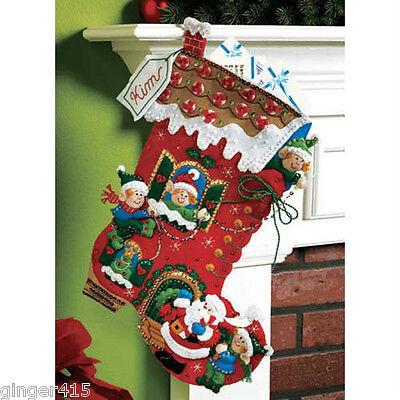 Bucilla HOLIDAY DECORATING Felt Christmas Stocking Kit OOP Elf FactoryDirect 18
