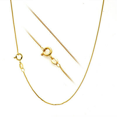 18k Italian Necklace (18K Gold over Solid 925 Sterling Silver 1.1mm Thin Italian Box Chain)