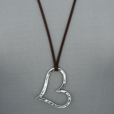 Long Brown Leather Antique Silver Open Heart Design Pendant Necklace