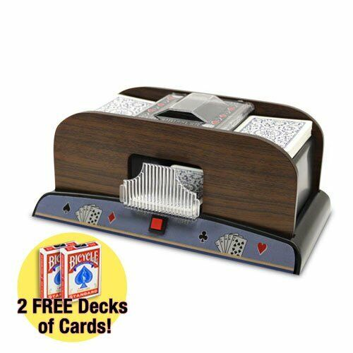 2 Deck Wooden Automatic Card Shuffler & 2 Free Bicycle Card Decks