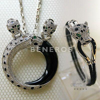 Leopard Earrings Necklace Bracelet Silver Animal Cat Gift Jewelry Set Jaguar