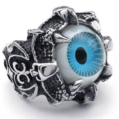 Super Cool Stainless Steel Dragon Claw Blue Evil Eye Skull Biker Ring - Plastic Skull Rings