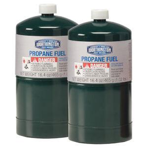Small green portable propane tanks