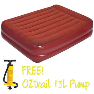 oztrail queen mattress double height pump air inflatable blow up bed velour ebay. Black Bedroom Furniture Sets. Home Design Ideas
