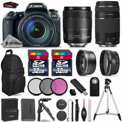 Canon EOS 77D DSLR Camera + 18-135mm USM + 75-300mm + 3PC Filter Kit - 64GB Kit