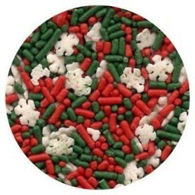 Christmas Noel Blend Sprinkles - Red & Green Jimmies Snowflakes  - 2.6 oz - Snowflake Sprinkles