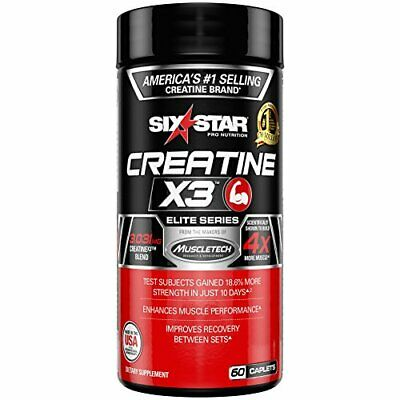 Six Star Creatine X3 Caplets, 60 Count