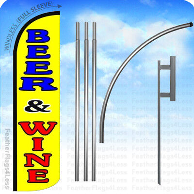 Beer Wine - Windless Swooper Flag 15 Kit Feather Banner Sign - Yq