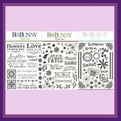 BO BUNNY Black Rub-Ons WORDS IMAGES 3 SETS Falling Leaves Sunshine Best Friends Rub Ons Words