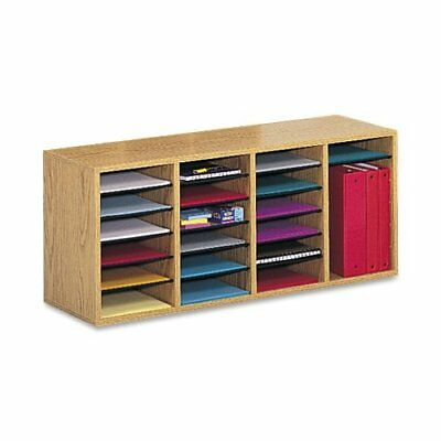 Safco Products 9423mo Wood Adjustable Literature Organizer 24 Compartment Oak