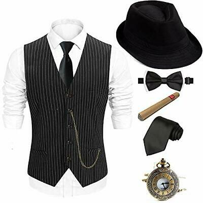 Gatsby Mens Costumes (1920s Mens Fedora Hat,Gatsby Gangster Vest,Vintage X-Large)