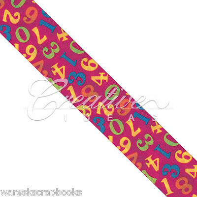 10 Yards Hot Pink Double Face Satin Numeric Print Ribbon 1-1/2