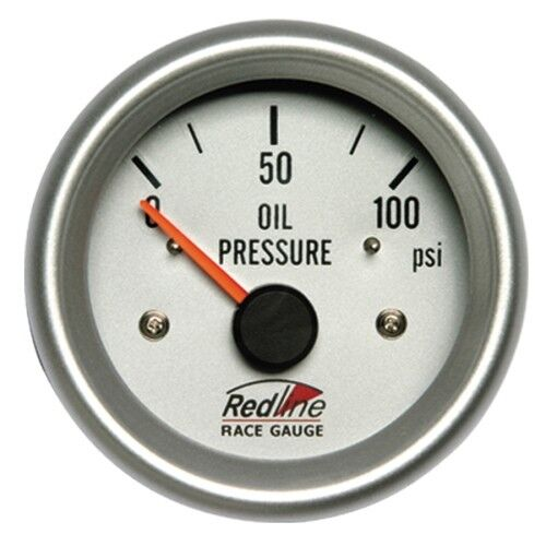 2 5/8 Oil Pressure Gauge Electric White Face Silver Bezel 258-11 Redline