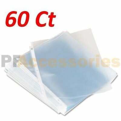 Pack of 60 Economy Weight Clear Poly Sheet Page Protectors Non-Stick 8.5 x 11