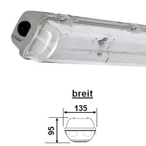 Feuchtraumleuchte IP65 2x 3x 18W 36W 58W Wannenleuchte Nassraum Neonröhre EVG