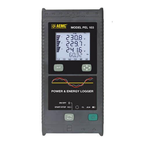 AEMC PEL 103 (2137.52) Power Energy Logger, 1-2-3-Phase, 3Sensors, LCD