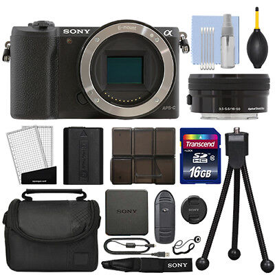 Sony Alpha a5100 Mirrorless Digital Camera with 16-50mm Lens Black + 16GB Kit