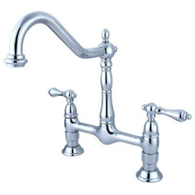Handle Widespread Bridge Faucet - Kingston Brass Heritage Double Handle Widespread Bridge Kitchen Faucet