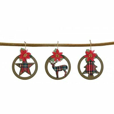 Plaid Silhouette Christmas Ornament Set of 3 Deer Tree & Star Rustic Poinsettia