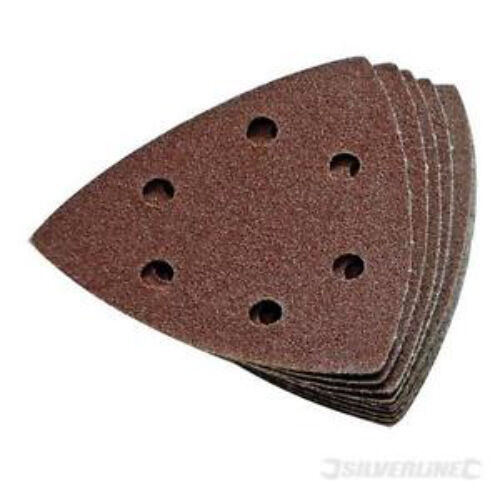 Silverline hook & loop triangle sanding sheets pack of 10 size 90mm 60 grit