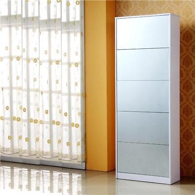 White Wooden Shoe Cabinet Storage Shoe Rack with 5 Drawers Full-length Mirror Wooden Shoe Cabinet